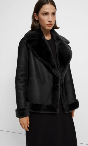 THEORY Clairene Reversible Moto Jacket in Polished Shearling