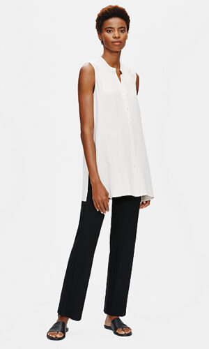 EILEEN FISHER Silk Georgette Crepe Mandarin Collar Shirt