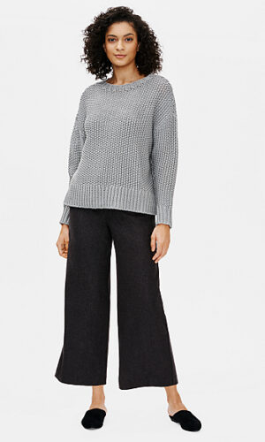 EILEEN FISHER Soft Wool Flannel Wide-Leg Ankle Pant