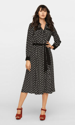 DVF Antonette Crepe Midi Shirt Dress
