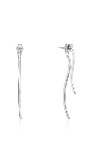 ANIA HAIE Silver Curve Drop Bar Ear Jackets.