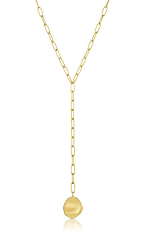 ANIA HAIE Gold Crush Disc Y Necklace