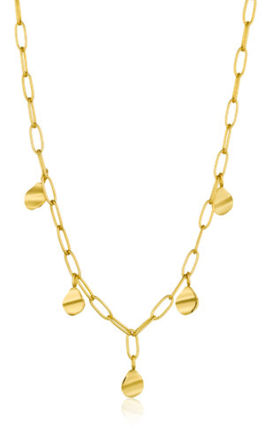 ANIA HAIE Gold Crush Drop Discs Necklace