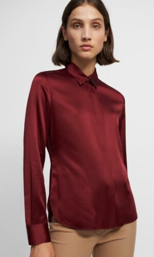 THEORY Fitted Shirt in Stretch Satin