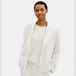 EILEEN FISHER TEXTURED CREPE NOTCH COLLAR JACKET