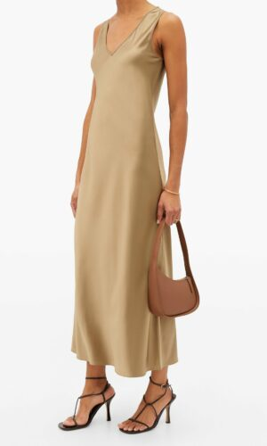 JOSEPH Daris V-neck silk-satin slip dress.