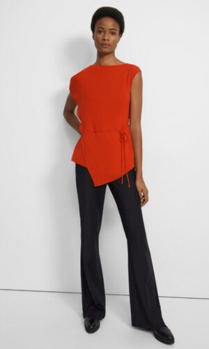 Theory Draped Top in Silk Georgette