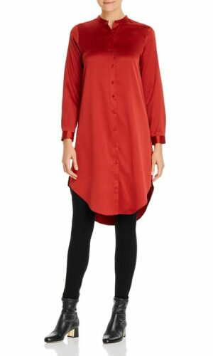 EILEEN FISHER Satin Mandarin Collar Tunic