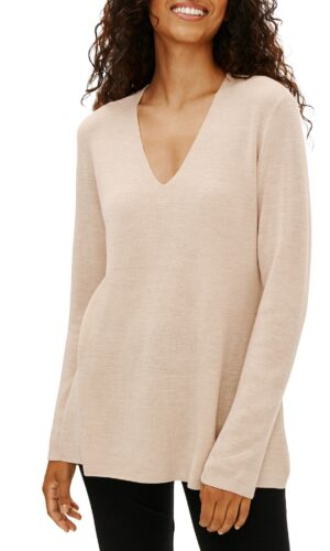 EILEEN FISHER ULTRAFINE MERINO V-NECK TUNIC IN REGENERATIVE WOOL