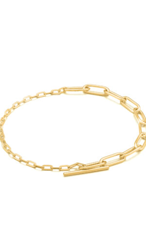 ANIA HAIE Gold Mixed Link T-bar Bracelet