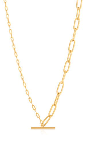 ANIA HAIE Gold Mixed Link T-bar Necklace.