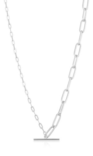 ANIA HAIE SILVER MIXED T BAR NECKLACE.