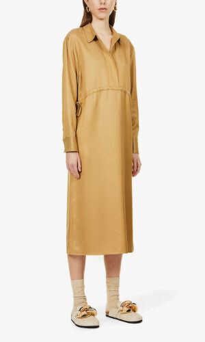 THEORY Collared drawstring-waist woven midi dress.