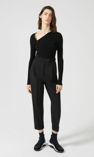 SPORTMAX TAPERED TURN-UP WOOL TROUSERS