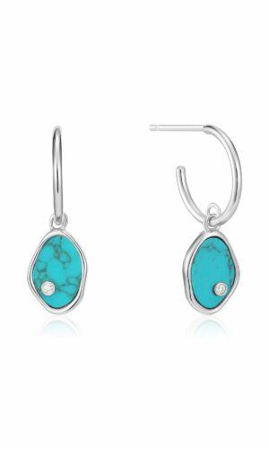 ANIA HAIE Silver Tidal Turquoise Mini Hoop Earrings