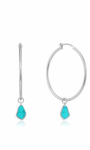 ANIA HAIE Silver Tidal Turquoise Drop Hoop Earrings