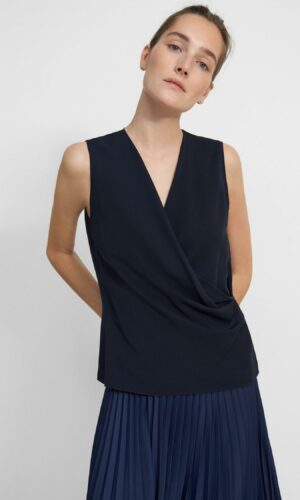 THEORY Draped Shell Top in Silk Georgette