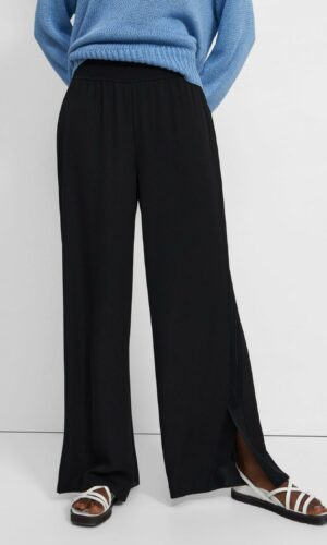 THEORY SILK WIDE-LEG PULL-ON TROUSERS