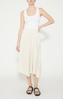 THEORY Asymmetrical Draped Skirt in Crushed Satin