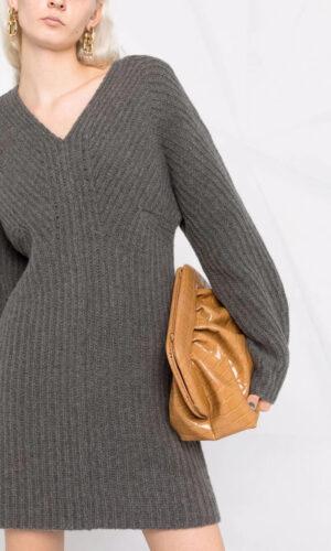 THEORY V-neck ribbed-knit dress
